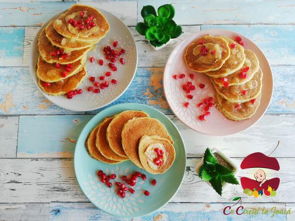 pancakes cu migdale si unt de arahide