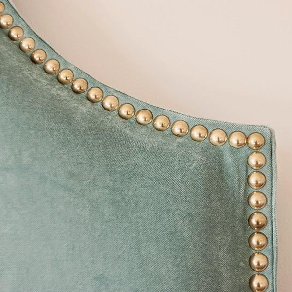 diy fabric headboard with nailhead trim