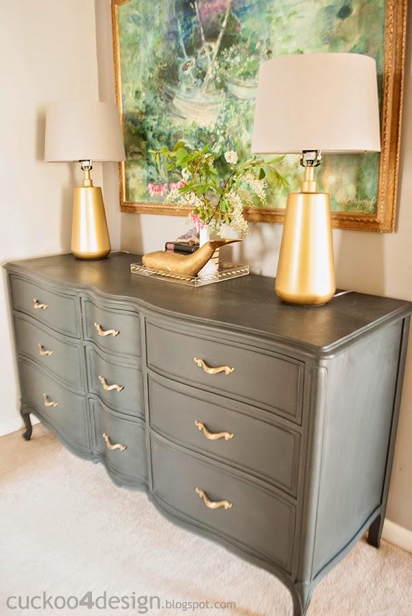 French Provincial Annie Sloan Graphite Dresser  Cuckoo4Design
