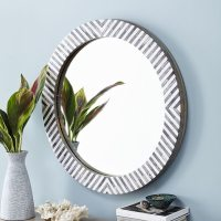 Black and white striped mirror makeover | Cuckoo4Design