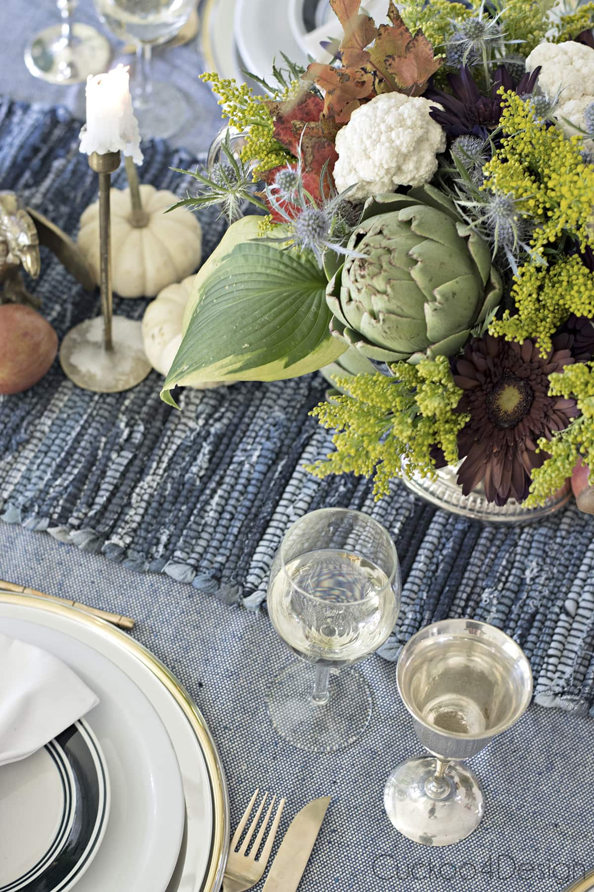 Blue Jeans Tablescape for Fall or Thanksgiving  Cuckoo4Design