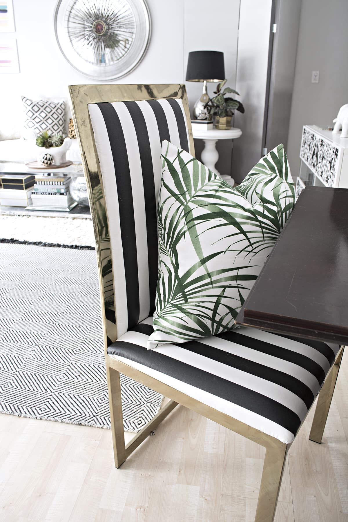black parsons chair slipcovers john deere rocking cushion friday favorites and white striped furniture