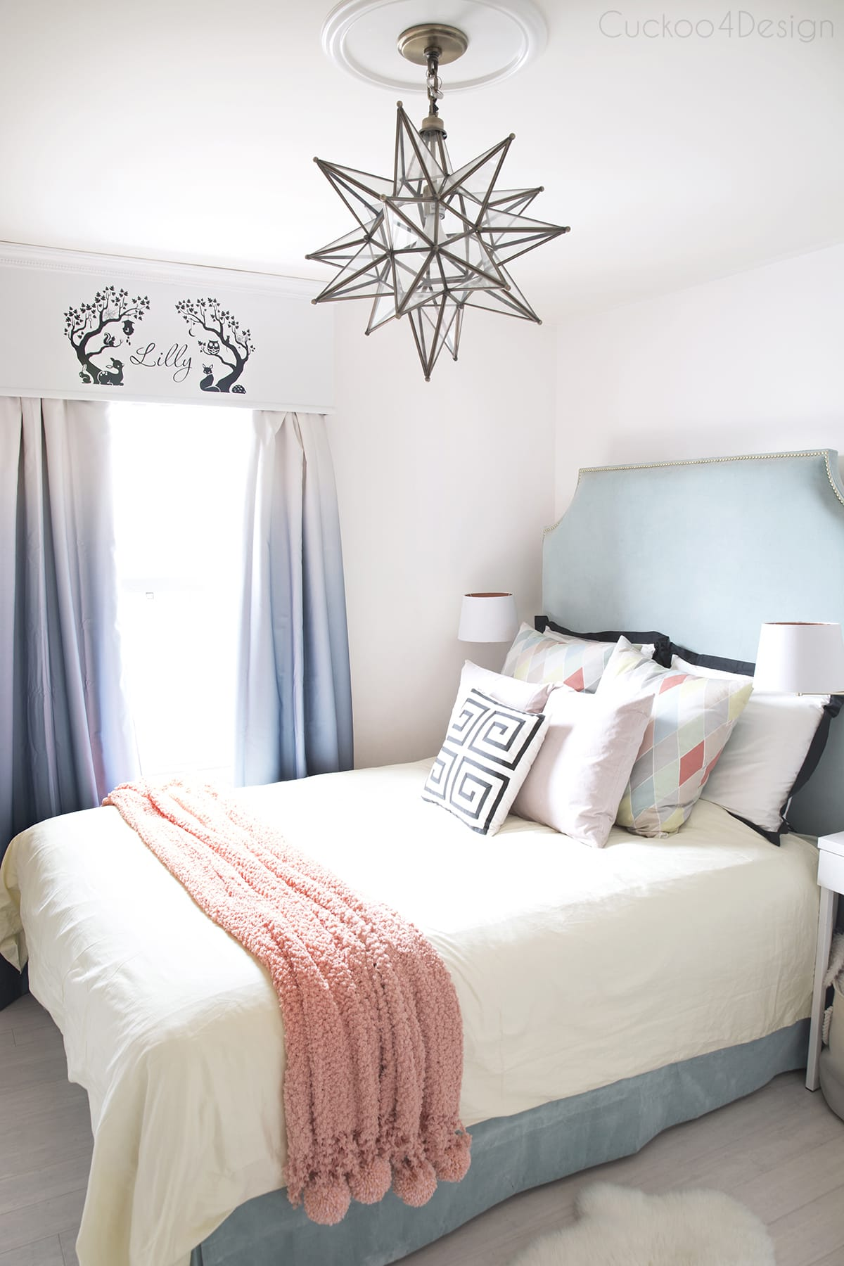 Teal turquoise coral and yellow girls bedroom