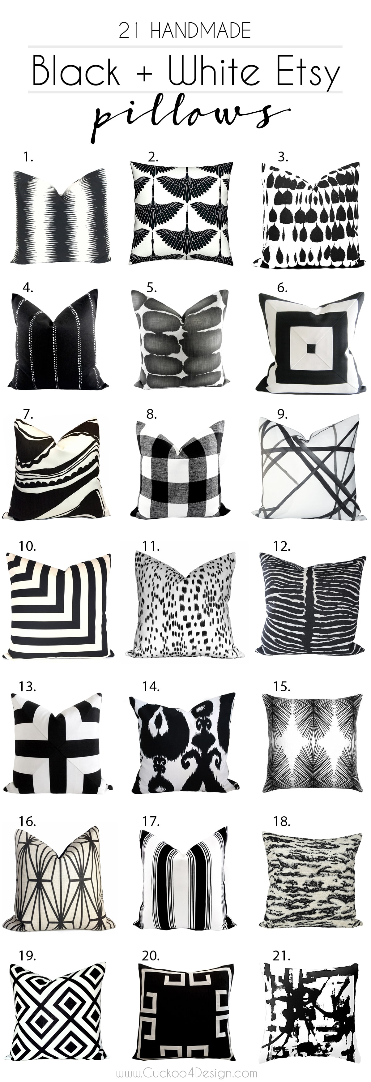 Friday Favorites 21 Handmade Black And White Etsy Pillows