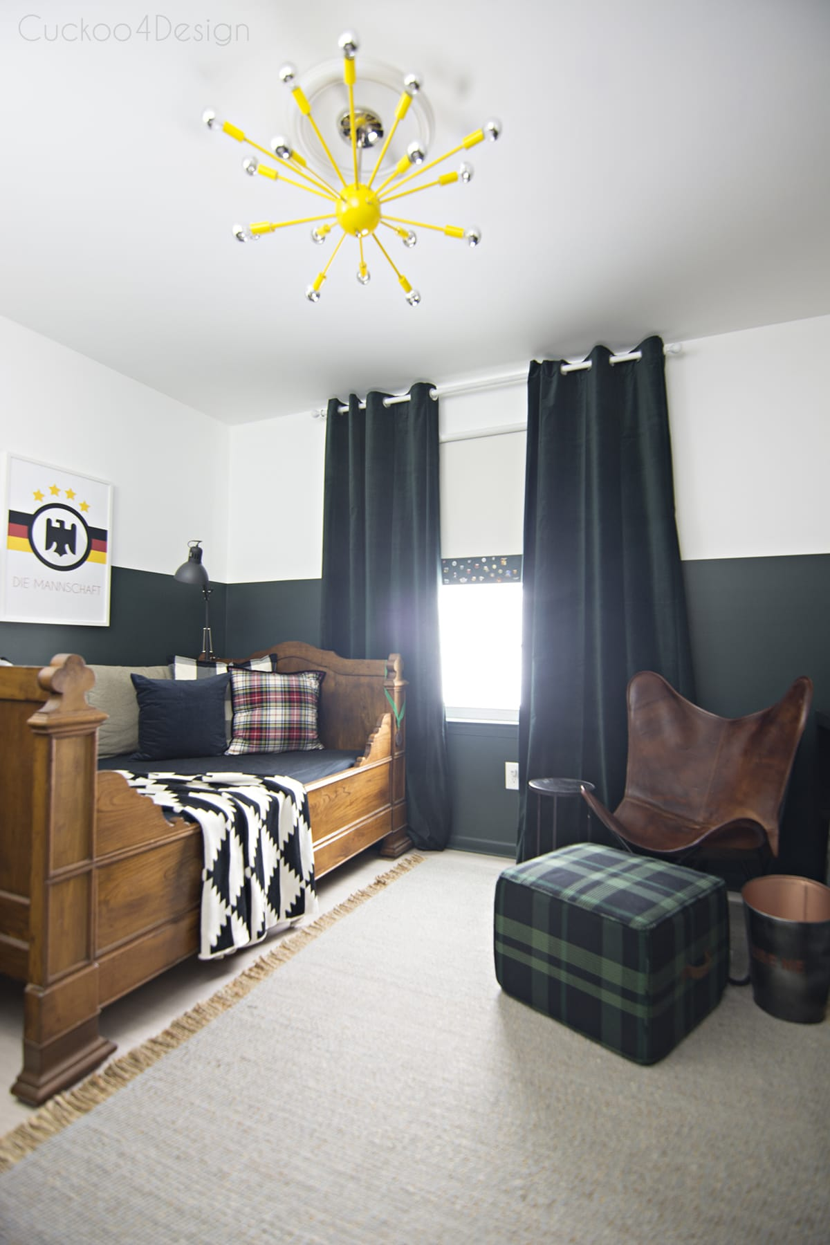 sophisticated boys room with dark green walls  Cuckoo4Design