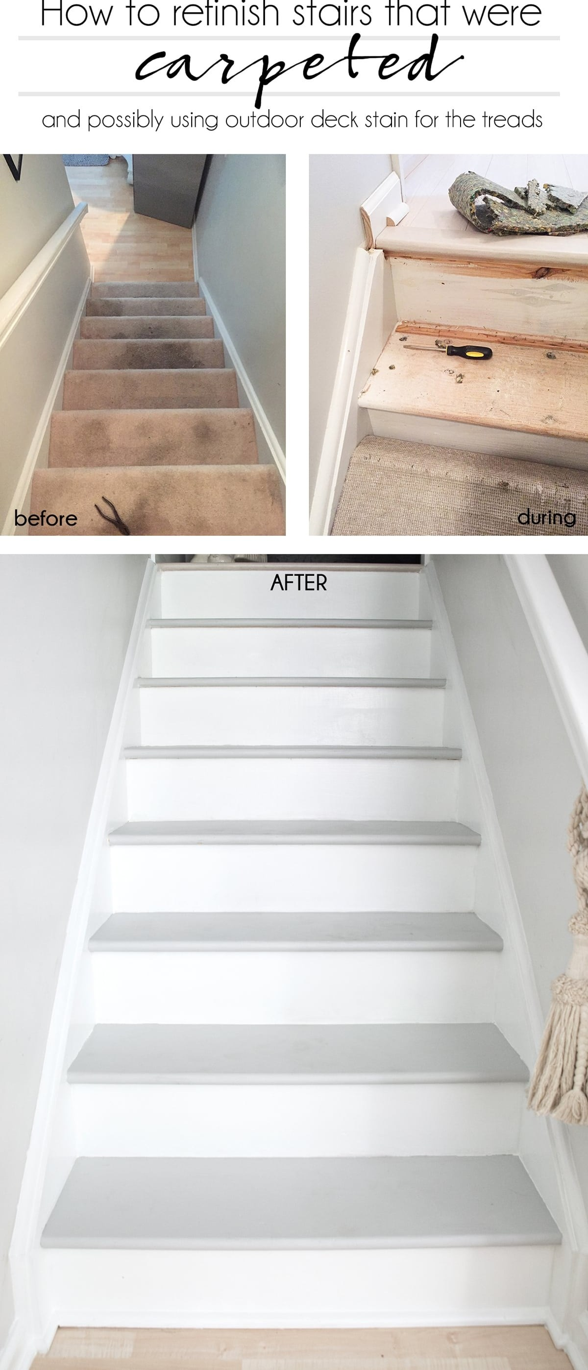 How To Refinish Stairs That Were Carpeted Cuckoo4Design   Painted Stairs With Carpet Treads   Oak   Wallpaper   Non Slip   Retrotread   Hardwood