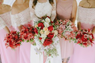 Burgundy & Mauve Cascade Bouquet for Mye's French-Country Inspired Wedding // photo by Rainbowfish Photo