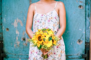 Bright Sunflower & Daisy Bouquet for Kristine's Hippie Wedding // photo by Blinkbox Photos