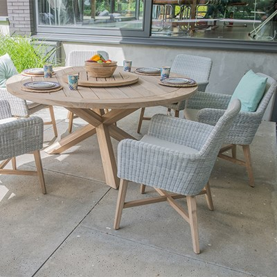 Outdoor Table And Chair Set Lisboa Teak Table Rattan Chair Set By 4 Seasons Outdoor