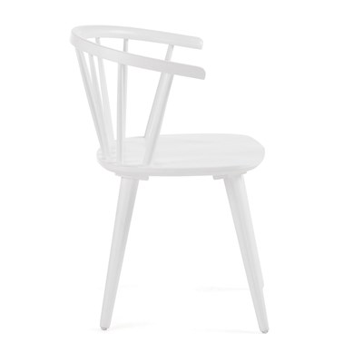 White Wooden Dining Chairs Pair Of Krise Spindle Back Dining Chairs In White
