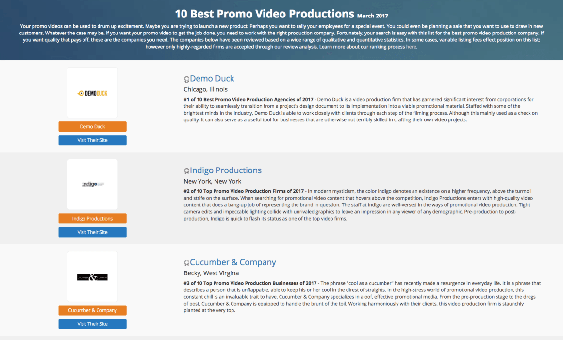 Best Promo Video Production Companies in March 2017