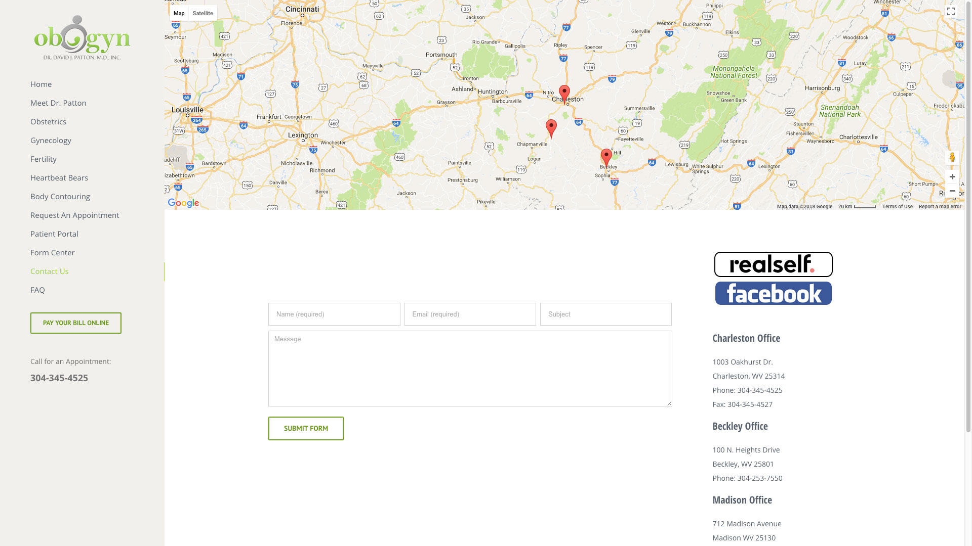 Dr. Patton OBGYN Website Contact Page Cucumber and Company Web Design Beckley, WV