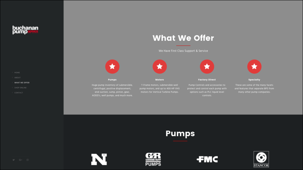 Buchanan Pump Services what we offer web design by cucumber & company