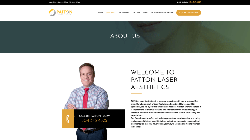 Patton Laser Aesthetics about us web design by cucumber & company