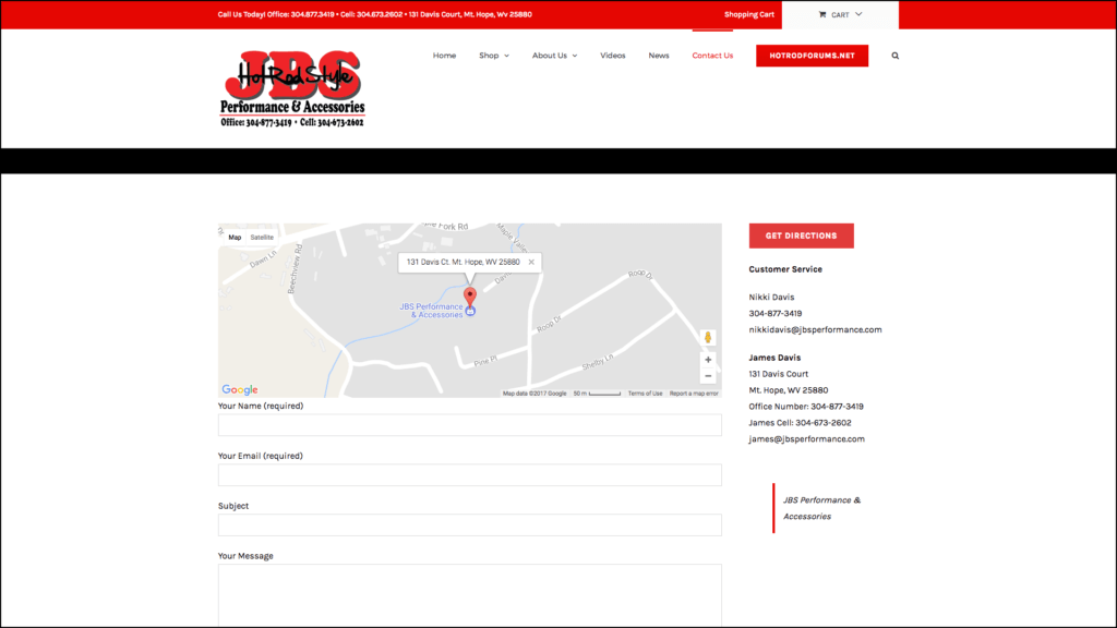 JBS Performance and Accessories contact page