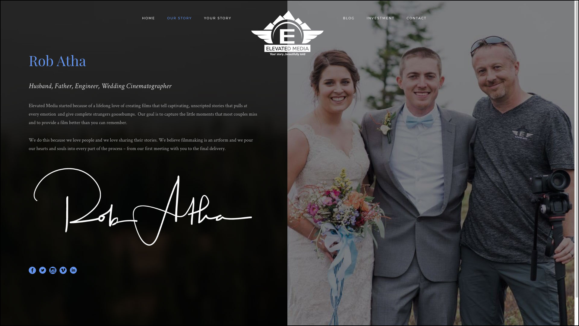 Elevated Media Wedding Photography Web Design by Cucumber & Company