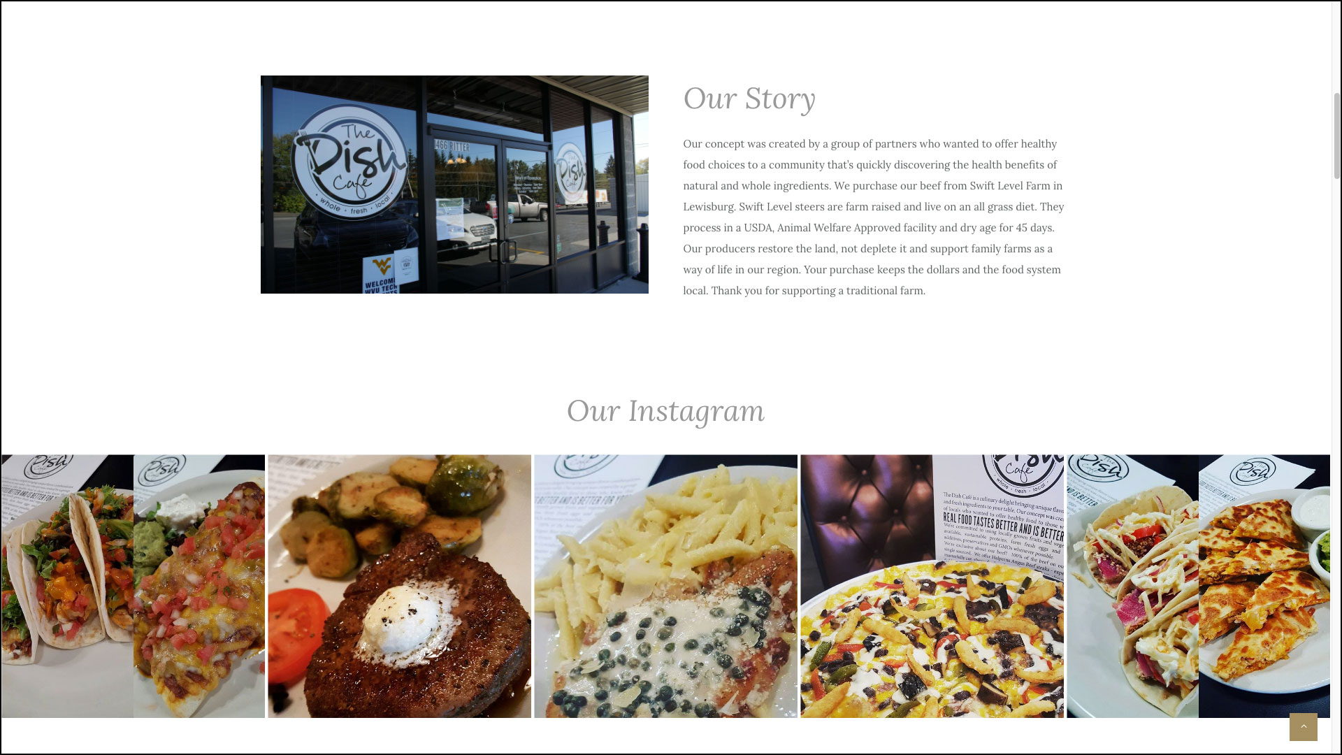 the dish cafe web site instagram and about