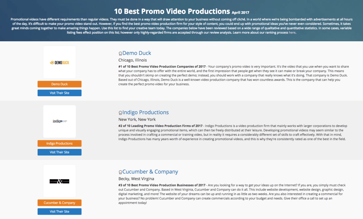 Best Promo Video Production in April 2017