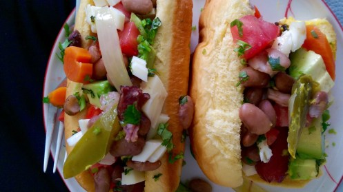 Hermosillo dogs (or Sonoran dogs), at home.