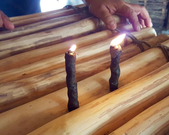 Candles of natural black wax from stingless bees.