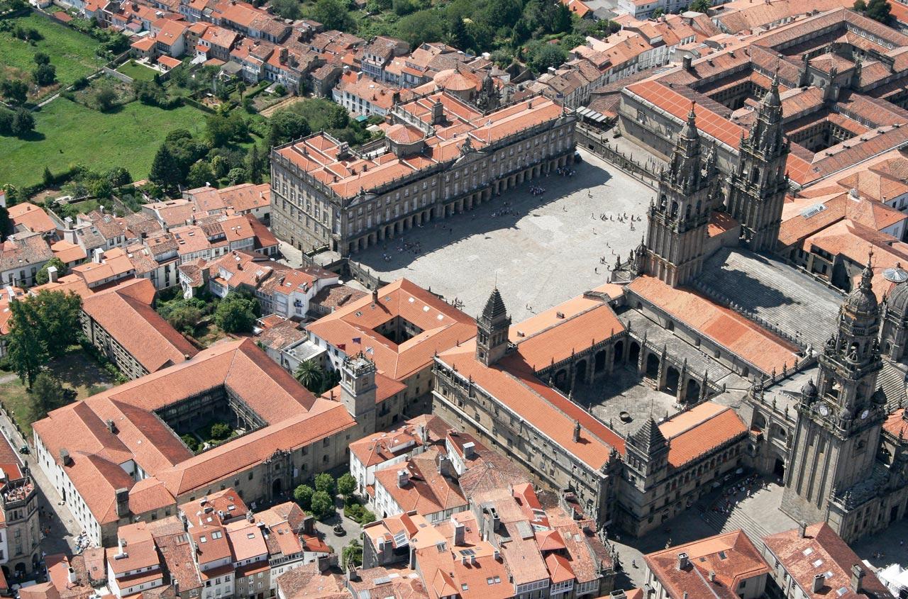Vista aérea de la Plaza del Obradoiro