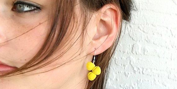 big yellow earrings by The Peach Tree