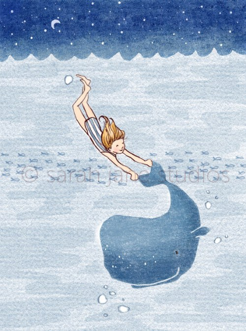 kids wall art: whale dreams by sarah jane
