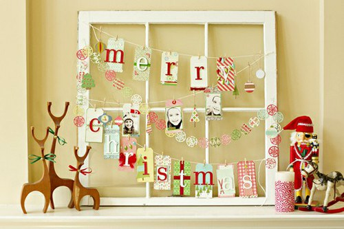 pretty holiday decorations: window pane garland