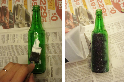 DIY glitter bottle vase instructions