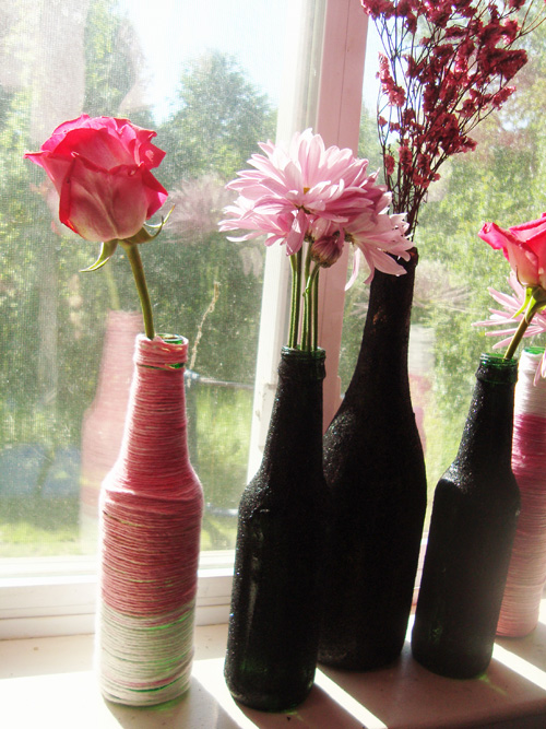 DIY glitter bottle vases