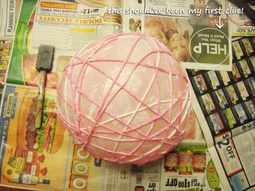 DIY yarn ball wrapping the yarn