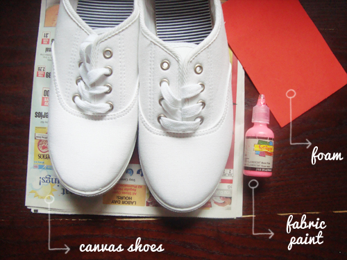 DIY polka dot shoes supplies