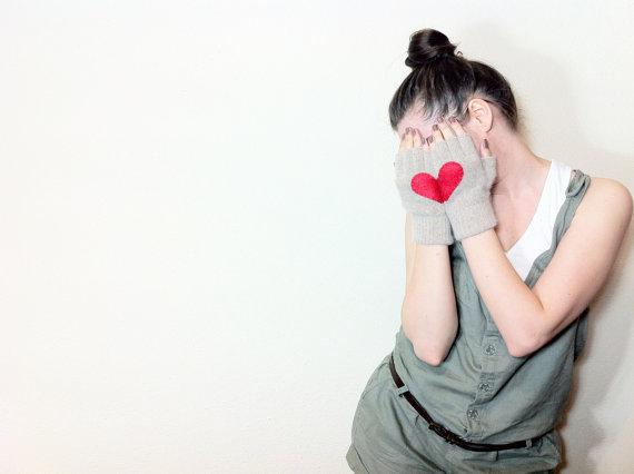 Heart Reflection handmade fingerless gloves