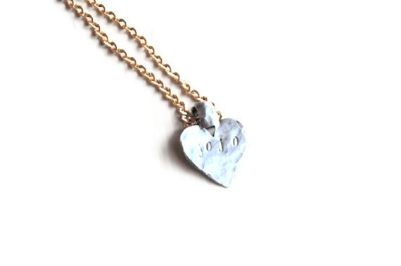 Golden Plume hand handmade hammered heart necklace