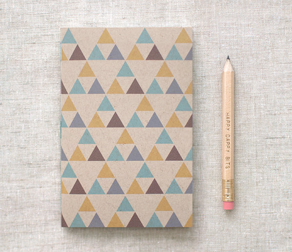 etsy finds geometric shapes: happy dappy bits notebook