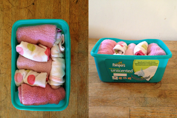 eco-friendly organization with wipes containers
