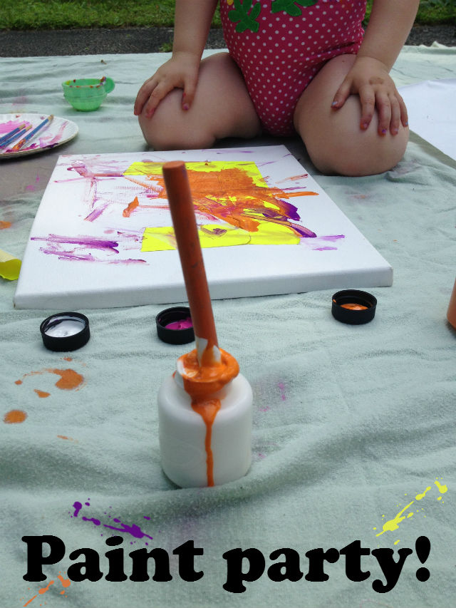 Paint Party turned Home Decor  #paint #summer #kidcraft #kidactivity