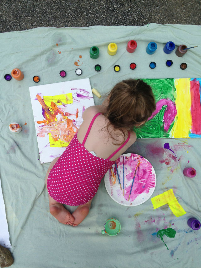 Paint Party turned Artwork #paint #summer #kidcraft #kidactivity