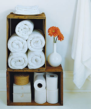 bathroom organization: wooden crates