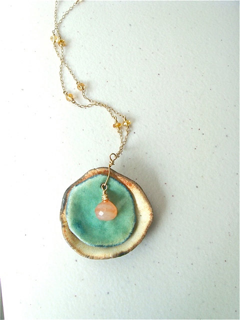 porcelain dish necklace by Lime in the Sky
