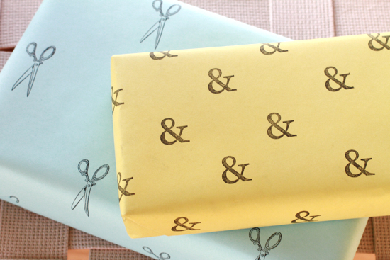 Gift wrap inspiration: stamped wrapping paper
