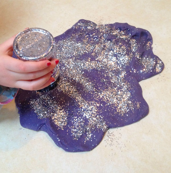 glittery homemade play dough