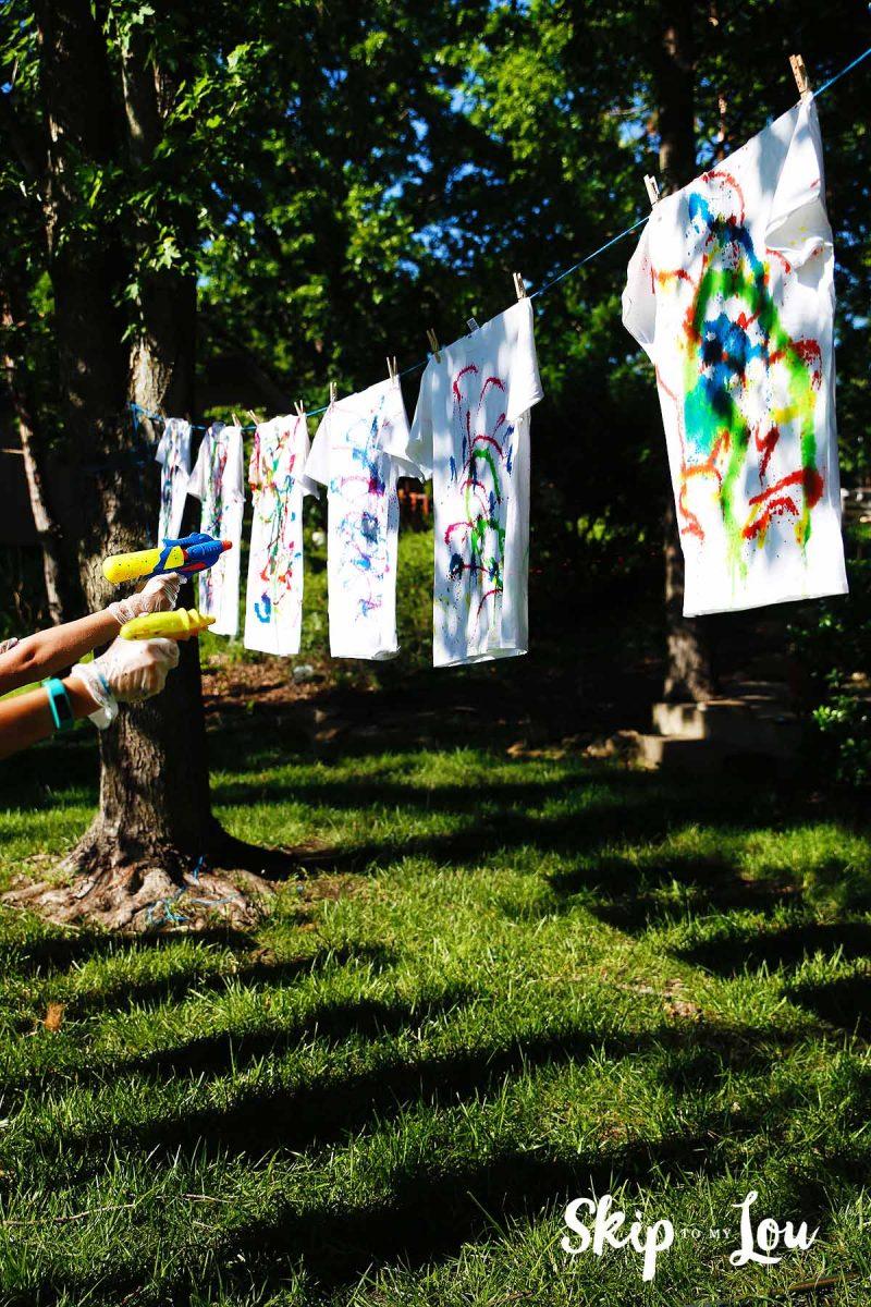 50+ Outdoor Activities with Kids - Tie-Dye with Water Guns
