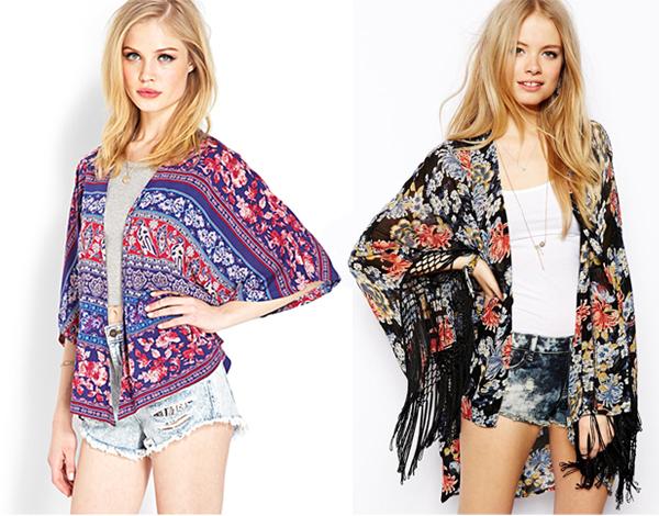 kimonos: Forever 21 and ASOS vintage