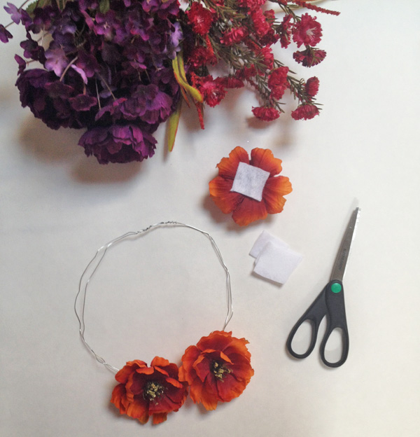 DIY flower crown felt and flower placement