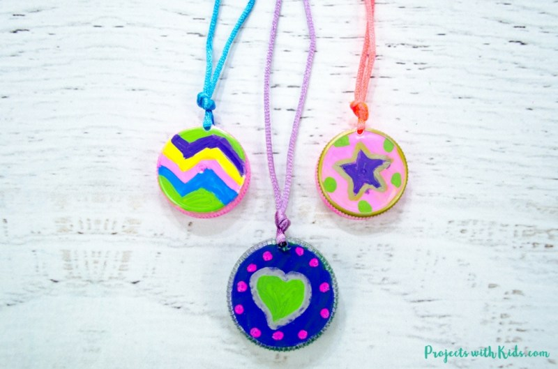 Earth Day kids activities - upcycled plastic cap necklaces