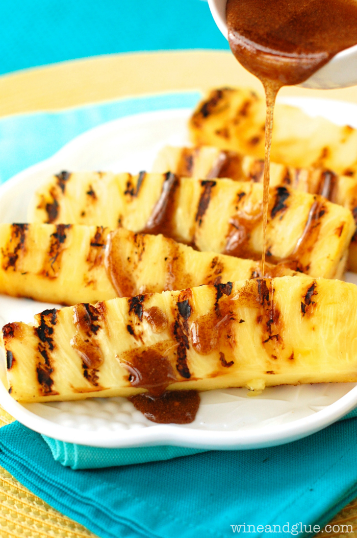 grilled pineapple with cnnamon honey drizzle via Wine and Glue