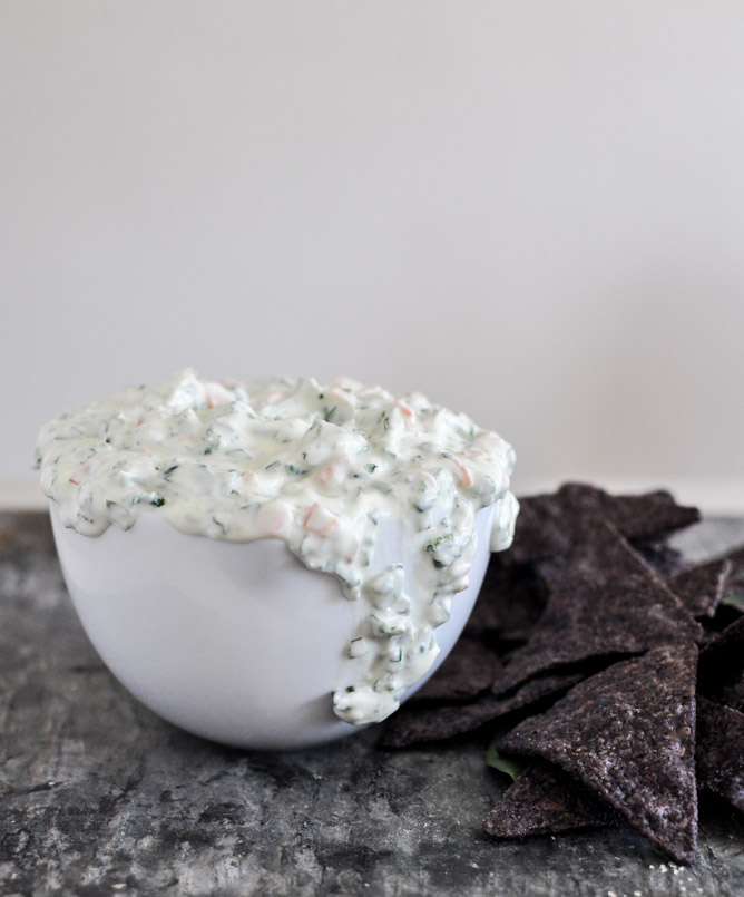 spinach and kale greek yogurt dip via How Sweet Eats