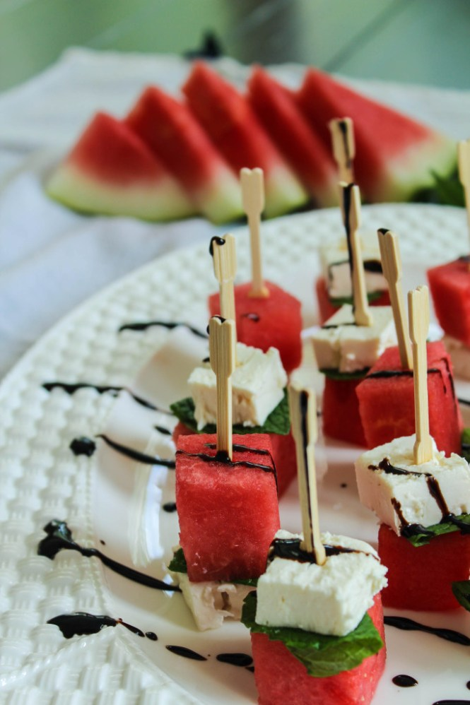watermelon feta mint skewers via Bites of Bri