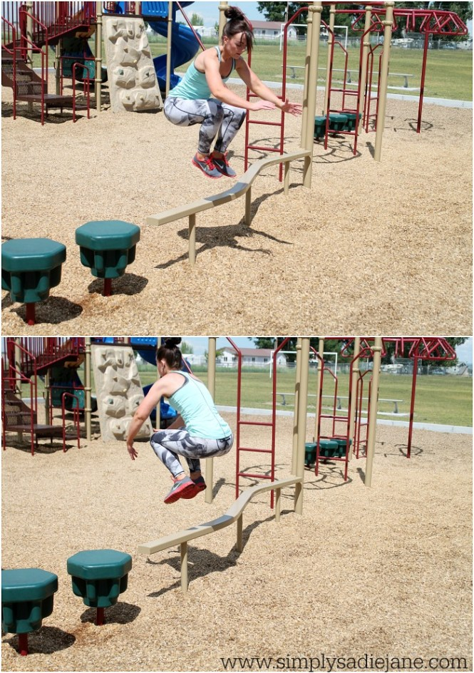 Playground Workouts: jump overs via Simply Sadie Jane